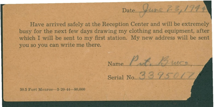 Army-Issue Postcard Home - June 23rd, 1944